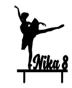 Ballerina taarttopper met eigen naam leeftijd