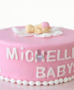 Babyshower taart baby in een bloem 10 personen