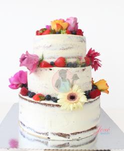 Naked cake met bloemen en fruit 45 personen