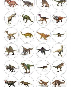 Dinosaurus cupcake prints 24 stuks