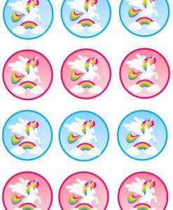 Eenhoorn cupcake prints 12 stuks
