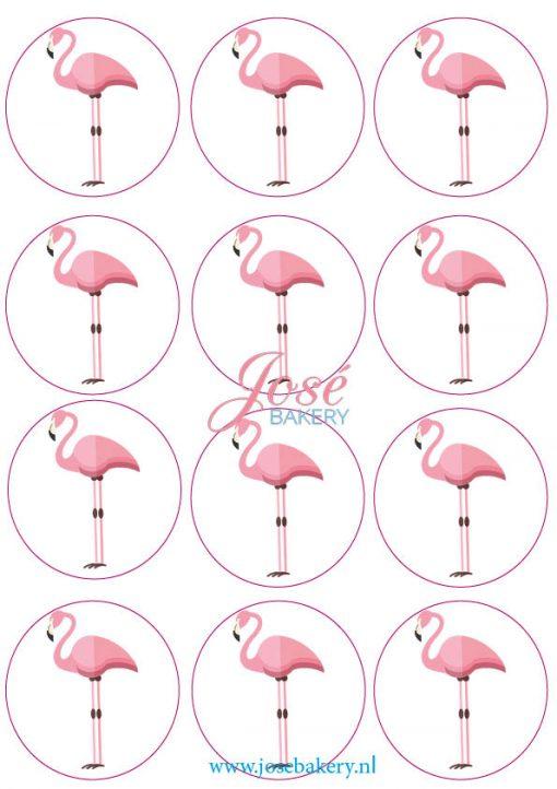 Flamingo eetbare cupcake prints 12 stuks