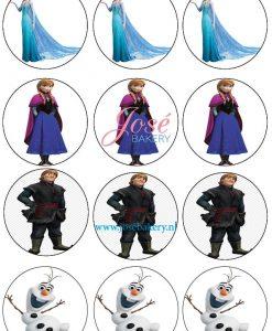 Frozen cupcake prints 12 stuks