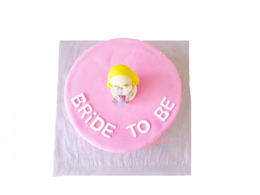 Vrijgezellen taart bride to be parels en poppetje 10 personen
