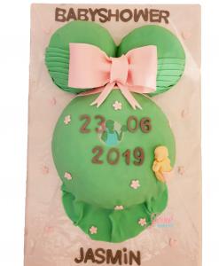 Zwangere buiktaart groen en roze 18 personen